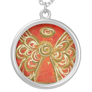 Red Angel Wings Silver Necklace