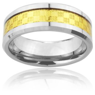 Tungsten Carbide Goldtone Checker Inlay Ring (8mm) Men's Rings
