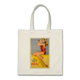 Vintage Retro Kitsch Pin Up Naughty Girl Postcard Bag