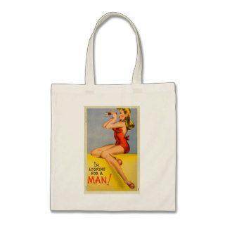 Vintage Retro Kitsch Pin Up Naughty Girl Postcard Bag