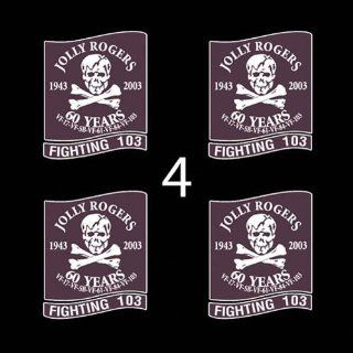 "US Navy VF 103 Fighting 103 Jolly Rogers SSI 3"" (4)Four Decal Sticker Lot: Automotive"