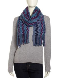 Fuzzy Mohair Blend Zigzag Scarf, Blue