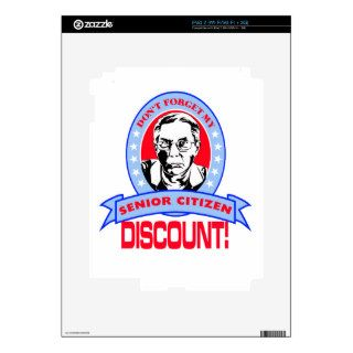 Don't Forget My Senior Citizen Discount Gift Items iPad 2 Skins