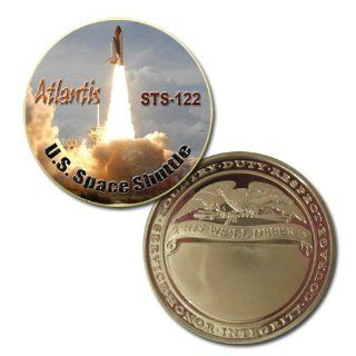 us Space Shuttle STS 122 Atlantis 24k Gold Plated Printed challenge coin