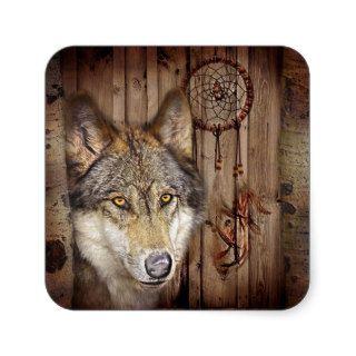 rustic native indian dream catcher wild wolf sticker