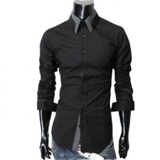 """Zehui Mens Stylish Striped Collar Button Front Shirt Long Sleeved Casual Slim Shirt Black USS(Shoulder16.9"""" Chest37.7"""" Length27.9"""" Sleeve24.8"""") at  Men�s Clothing store"""