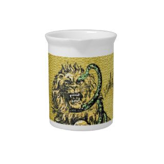 Lion Fighting Snake Beverage Pitcher