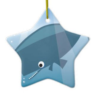 ADORABLE CUTE BLUE WHALE CARTOON HAPPY BUBBLES OCE CHRISTMAS TREE ORNAMENT