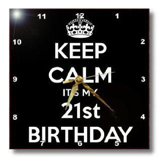 dpp_163842_2 EvaDane   Funny Quotes   Keep calm its my 21st birthday. Happy 21st Birthday. Black.   Wall Clocks   13x13 Wall Clock