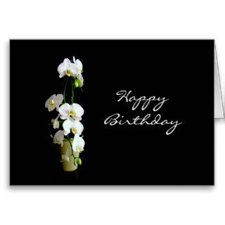 Happy Birthday White Orchids Greeting Cards