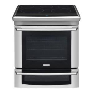 Electrolux Wave Touch 4.2 cu. ft. Slide In Double Oven Electric Range with Self Cleaning Convection Oven in Stainless Steel EW30ES65GS