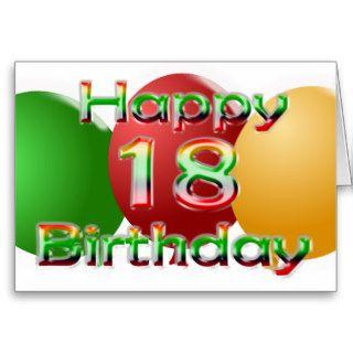 Happy 18th Birthday Balloon Card