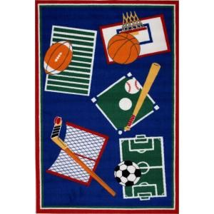 LA Rug Inc. Fun Time Sports A Rama Multi Colored 39 in. x 58 in. Area Rug BBB 001 3958