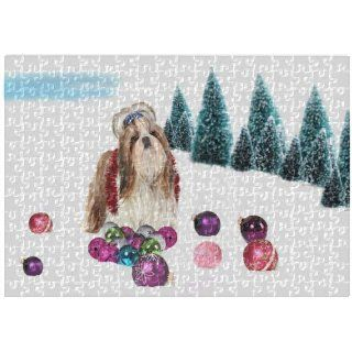 Shih Tzu Christmas 252 Pc. Puzzle with Photo Tin   Plaques