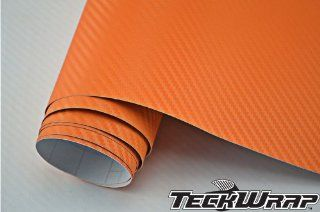 TeckWrap 49 X 5 Feet Orange 3d Carbon Fiber Car Wraps Foile Vinyl Film with Free Bubble (245 Square Foot): Automotive