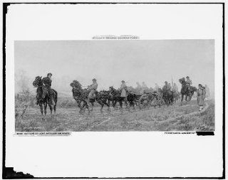 Photo: Battery, light artillery en route, horse, Civil War, William Thomas Trego, c1900   Prints