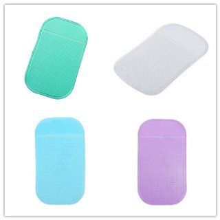 HPP Magic Anti slip Dashboard Adhesive Mat/ Sticky Pad for Cell Phone, Cd, Electronic Devices, Washable Green+Clear+Blue+purple Color Set of 4 : Mouse Pads : Office Products