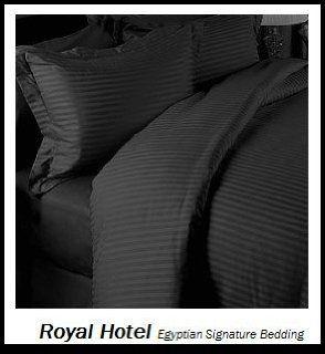 Royal's Stripe Black 300 Thread Count 4pc Queen Bed Sheet Set 100% Egyptian Cotton, Sateen Stripe, Deep Pocket   Pillowcase And Sheet Sets