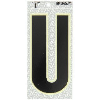 "Brady 3020 U 6"" Height, 3"" Width, B 309 High Intensity Prismatic Reflective Sheeting, Black, Glow In The Dark Border/Silver Color Glow In The Dark Or Ultra Reflective Letter, Legend ""U"" (Pack Of 10): Industrial Warning Signs: Industria"