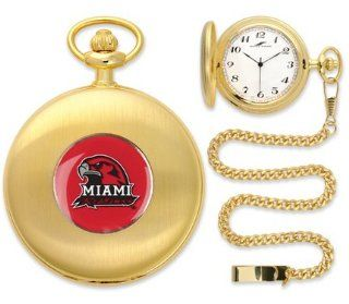 Miami (Ohio) RedHawks Gold Pocket Watch  Sports Fan Watches  Sports & Outdoors
