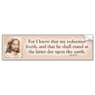 Sepia Jesus Art Bible Quote   Job 19:25 Bumper Sticker