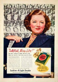1938 Ad Lucky Strike Cigarettes Miss Myrna Loy MGM Actress Movie Star Smoking   Original Print Ad