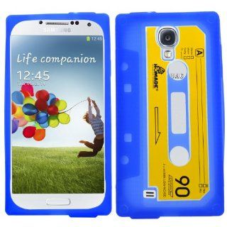 SAMRICK   Samsung i9500 Galaxy S4 IV & i9505 Galaxy S4 IV & SGH i337 & i9505G Galaxy S4 Google Play Edition   Retro Vintage Cassette Tape Hydro Silicone Protective Case   Blue Electronics