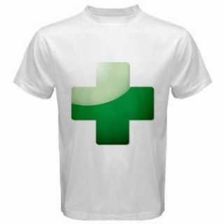 Men's Customized SIGN SYMBOL AID ICON ART CROSS FIRST 100% Cotton White T shirt: Clothing