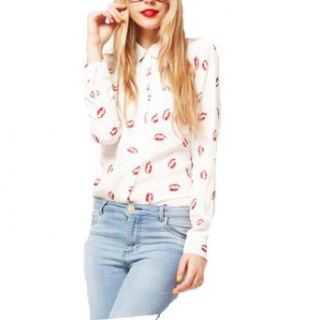 Lionstill Women's Stand Collar Button Silk Like Red Lip Print Long Sleeve Shirt at  Women�s Clothing store