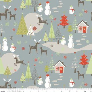 Riley Blake A MERRY LITTLE CHRISTMAS Gray C3370 Quilting Cotton Sewing Fabric By the Yard