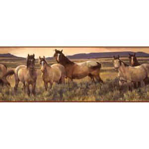 York Wallcoverings 9 in. Gray Horse Wallpaper Border CH7813BD