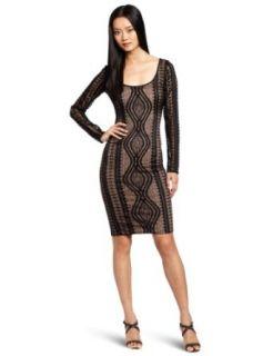 BCBGMAXAZRIA Women's Tanya Lace Round Neck Dress, Black, X Small at  Women�s Clothing store
