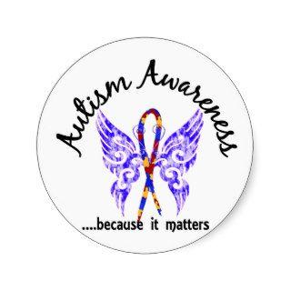 Grunge Tattoo Butterfly 6.1 Autism Round Stickers