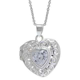 Silver Plated Cubic Zirconia Filigree Heart Locket Pendant   Silver/Clear (18)