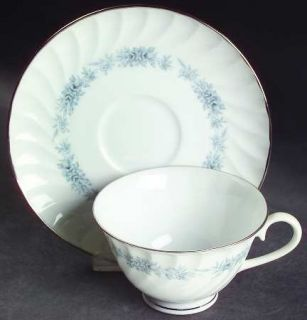 Royal Jackson Blue Heaven Footed Cup & Saucer Set, Fine China Dinnerware   Plati