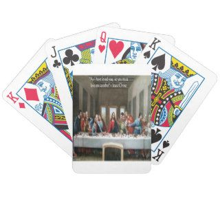 "Jesus @ Last Supper ""Love One Another"" Quote Playing Cards"