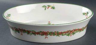 Christopher Radko Holiday Celebrations (Green Trim) 12 Oval Vegetable Bowl, Fin