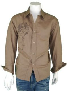 Modern Men's Long Sleeve Linen Shirt Embroidery Design G L603B Taupe Brown (XX Large) at  Men�s Clothing store