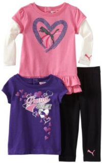 PUMA   Kids Baby Girls Newborn 3 Pack Pant Set, Azalea, 3 6 Months: Infant And Toddler Sweatsuits: Clothing