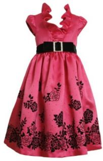 Bonnie Jean Girls 7 16 Satin Dress With Flocked Border, Fuschia, 16 Clothing
