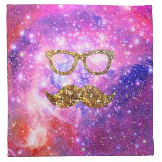 Gold Glitter Mustache Hipster Glasses Pink Nebula Cloth Napkin