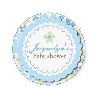 Baby Boy Flower Shower Thank You Favor Sticker
