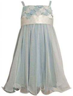 Size 4T/4 BNJ 5524 B BLUE IVORY FLORAL DIE CUT MESH OVERLAY Special Occasion Flower Girl Pageant Party Dress,B65524 Bonnie Jean GIRLS Clothing