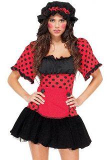 Fun&Funky Fashion Women's Rag Doll Dress Wig Bonnet Apron Costume   Red   X Small/Small Clothing