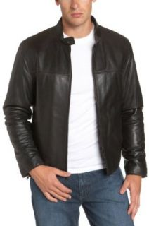 Marc New York Men's Lambskin Leather Banded Collar Jacket, Black, Small at  Men�s Clothing store