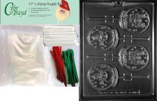 25 Red and 25 Green Twist Ties 50 Cello Bags Includes 50 Lollipop Sticks Cybrtrayd 45stK50C-C157 Mouse on Star Lolly Christmas Chocolate Mold with Lollipop Kit and Molding Instructions