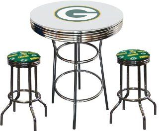 Green Bay Packers Logo NFL Football Glass Top Chrome Metal White Bar Pub Table Set with 2 Swivel Bar Stools   Home Bars