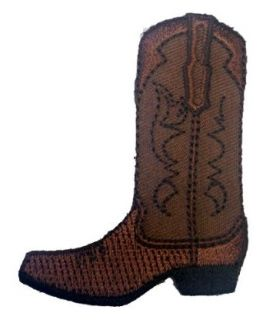 "2.5"" Brown Cowboy Boots Logo Iron on Patch: Clothing"