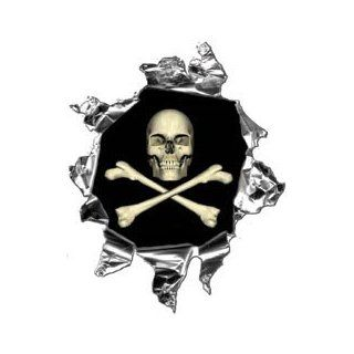 Mini Ripped Torn Metal Decal with Skull and Cross Bones  REFLECTIVE Automotive