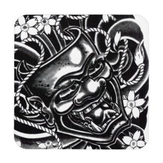 Hannya Mask Tattoo Design Beverage Coasters